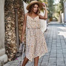 Allover Print Drawstring Waist Asymmetrical Hem Cami Dress