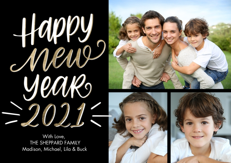 New Year's Photo Cards 5x7 Cards, Premium Cardstock 120lb, Card & Stationery -2021 Happy New Year by Tumbalina