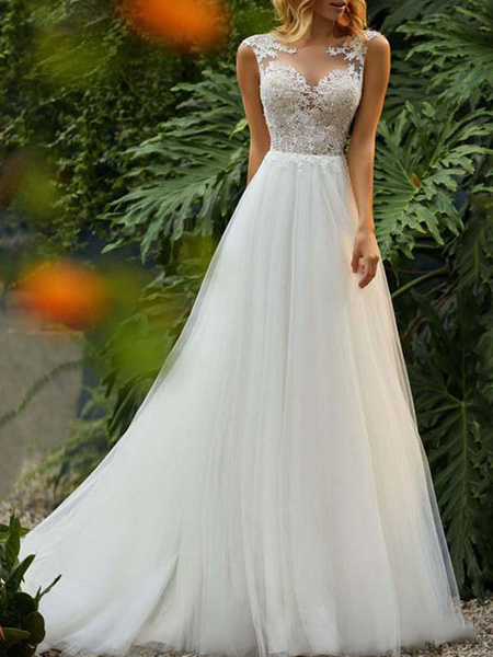Milanoo wedding dresses 2020 a line illusion neck sleeveless floor length lace beaded tulle boho bridal gowns