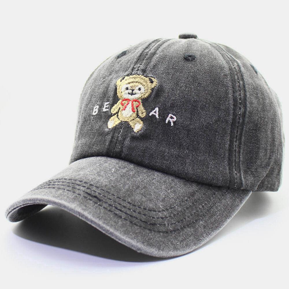 Men & Women Cute Bear Cartoon Baseball Cap Washed Cotton Cap