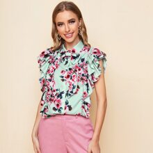 Layered Ruffle Trim Bow Front Floral Print Blouse
