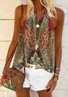 Vintage Floral V-Neck Camisole without Necklace - Red