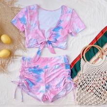 Tie Dye Tie Front Ruched Bikini Swimsuit