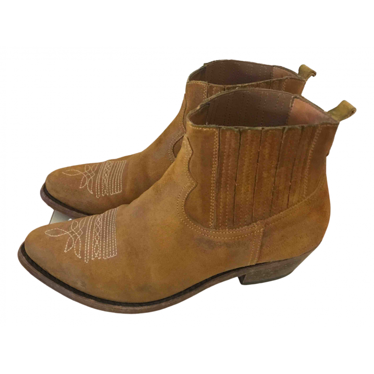 Golden Goose - Boots   pour femme en suede - camel