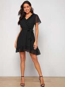 Swiss Dot Ruffle Trim Belted A-line Dress