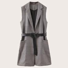 Dual Pockets Belted Houndstooth Blazer Vest