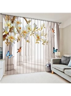 3D Printed Colorful Butterflies and Blooming Magnolia with Birds Custom Room Curtain