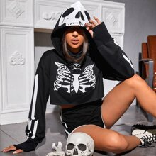 Skull Print Drawstring Hooded Sweatshirt