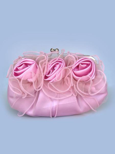 Milanoo Evening Clutch Bag Wedding Pink Rose Flowers Ruffle Kiss Lock Bridal Purse