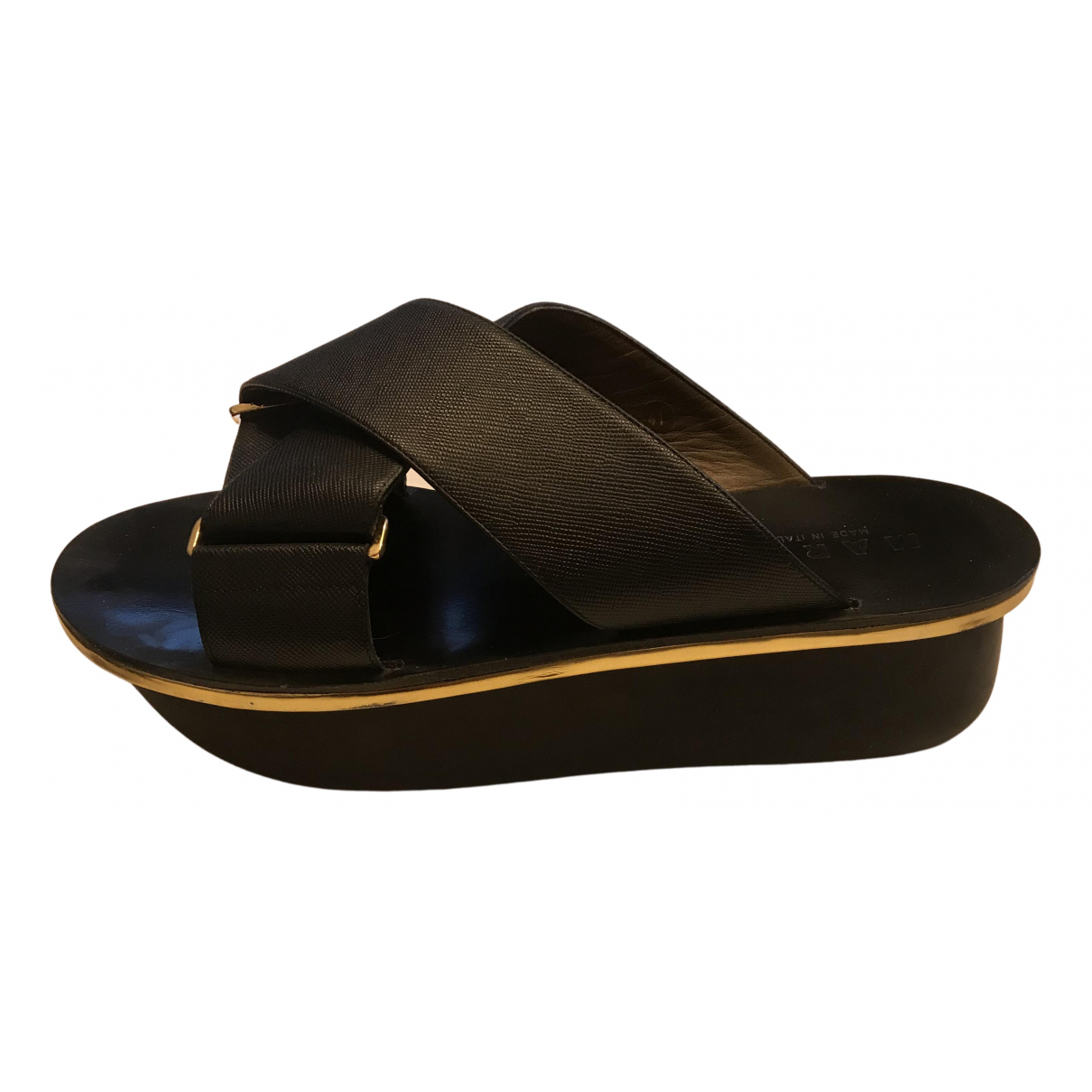 Marni N Black Leather Sandals for Women 41 EU