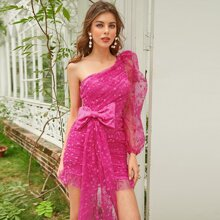 One Shoulder Big Bow Front Ruched Lace Dress