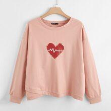 Sweatshirt mit Herzen Muster und asymmetrischem Saum