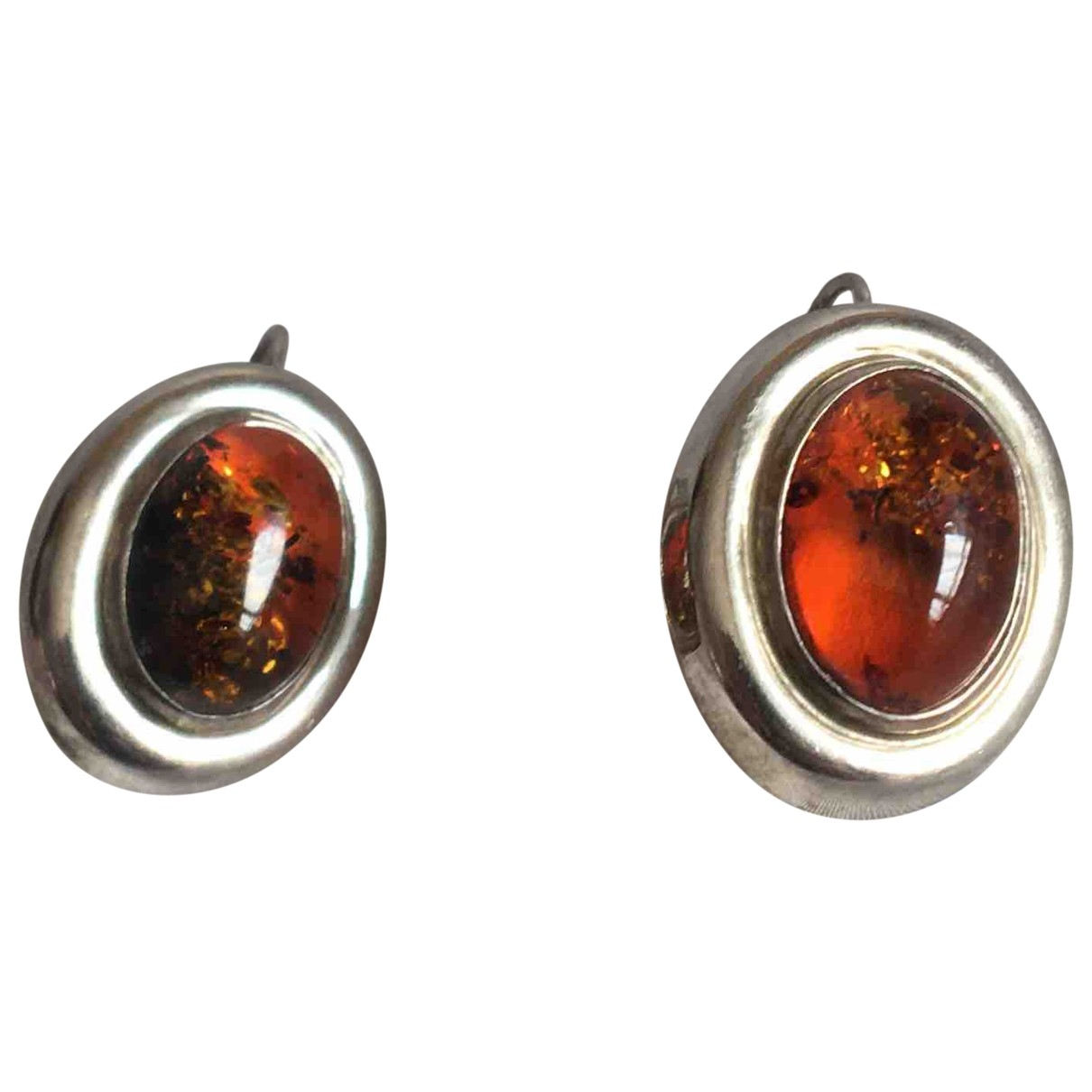 Non Signé / Unsigned \N Orange Silver Earrings for Women \N