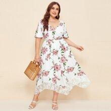 Plus Flutter Sleeve Lace Hem Floral Print Dress