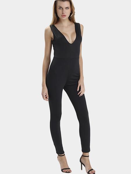 Yoins Black Sexy V-neck Strap Front Design Sleeveless Jumpsuit