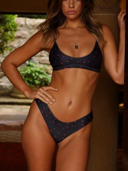 Yoins Adjustable Shoulder Straps Scoop Neck Bikini Set