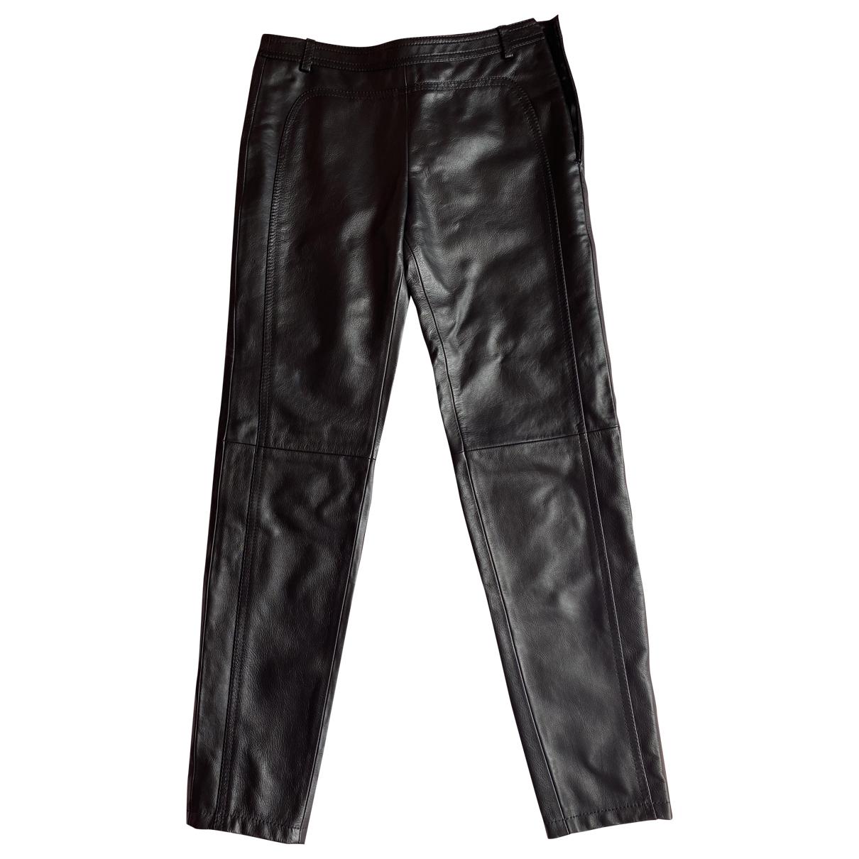 Giambattista Valli \N Black Leather Trousers for Women XS International