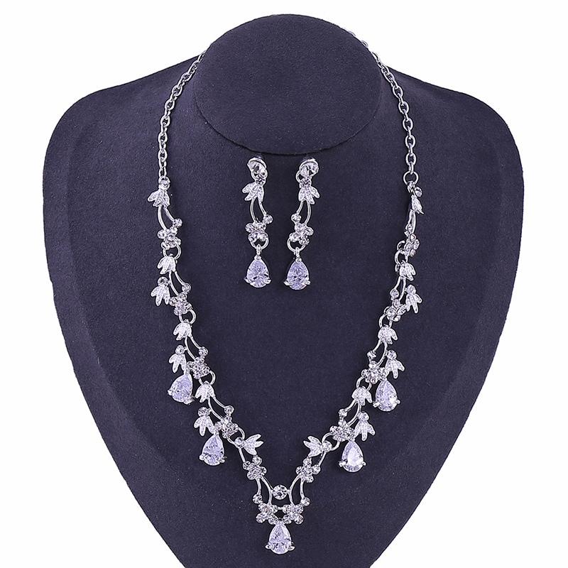 Necklace Gemmed Korean Jewelry Sets (Wedding)