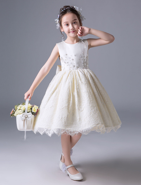 Milanoo Lace Flower Girl Dresses Short Champagne Sleeveless Applique Satin Knee Length Kids Princess Party Dresses