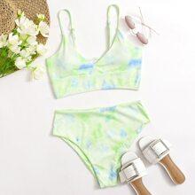 Gerippter Bikini Badeanzug mit Batik und hoher Taille