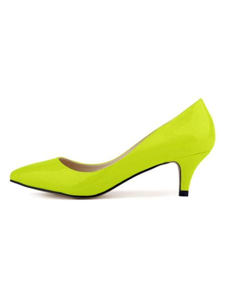 Milanoo Kitten Heel Pumps Pointed Toe Low Heel Patent Pumps Women Dress Shoes