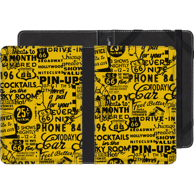 Pocketbook Touch Lux eBook Reader Huelle - ROUTE 66 Pin-Up Pattern Yellow von ROUTE 66
