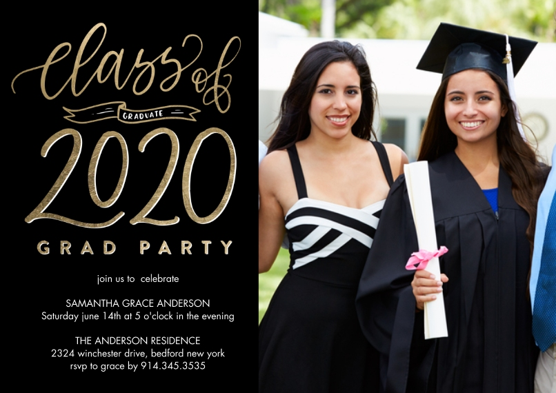 2020 Graduation Invitations 5x7 Cards, Premium Cardstock 120lb with Elegant Corners, Card & Stationery -Grad Party 2020 Banner by Tumbalina
