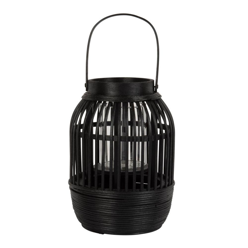 Laterne aus Bambusgeflecht, schwarz H19