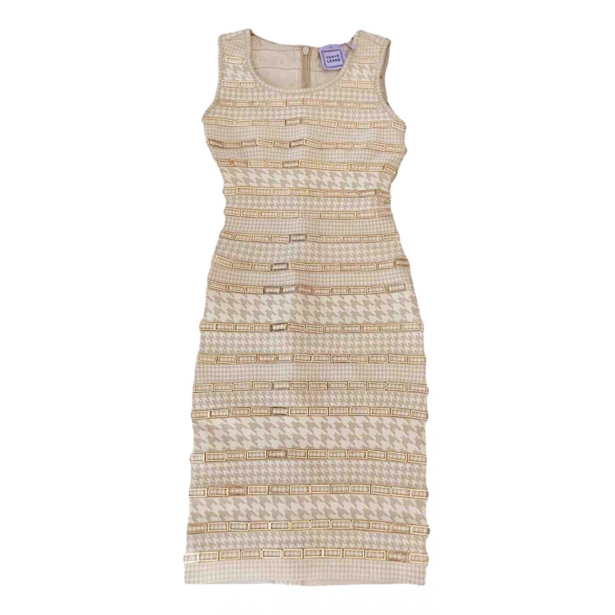 Herve Leger \N Kleid in  Gold Synthetik