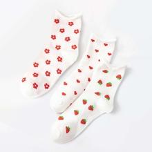 3 Paare Kleinkind Maedchen Socken mit Blumen Muster