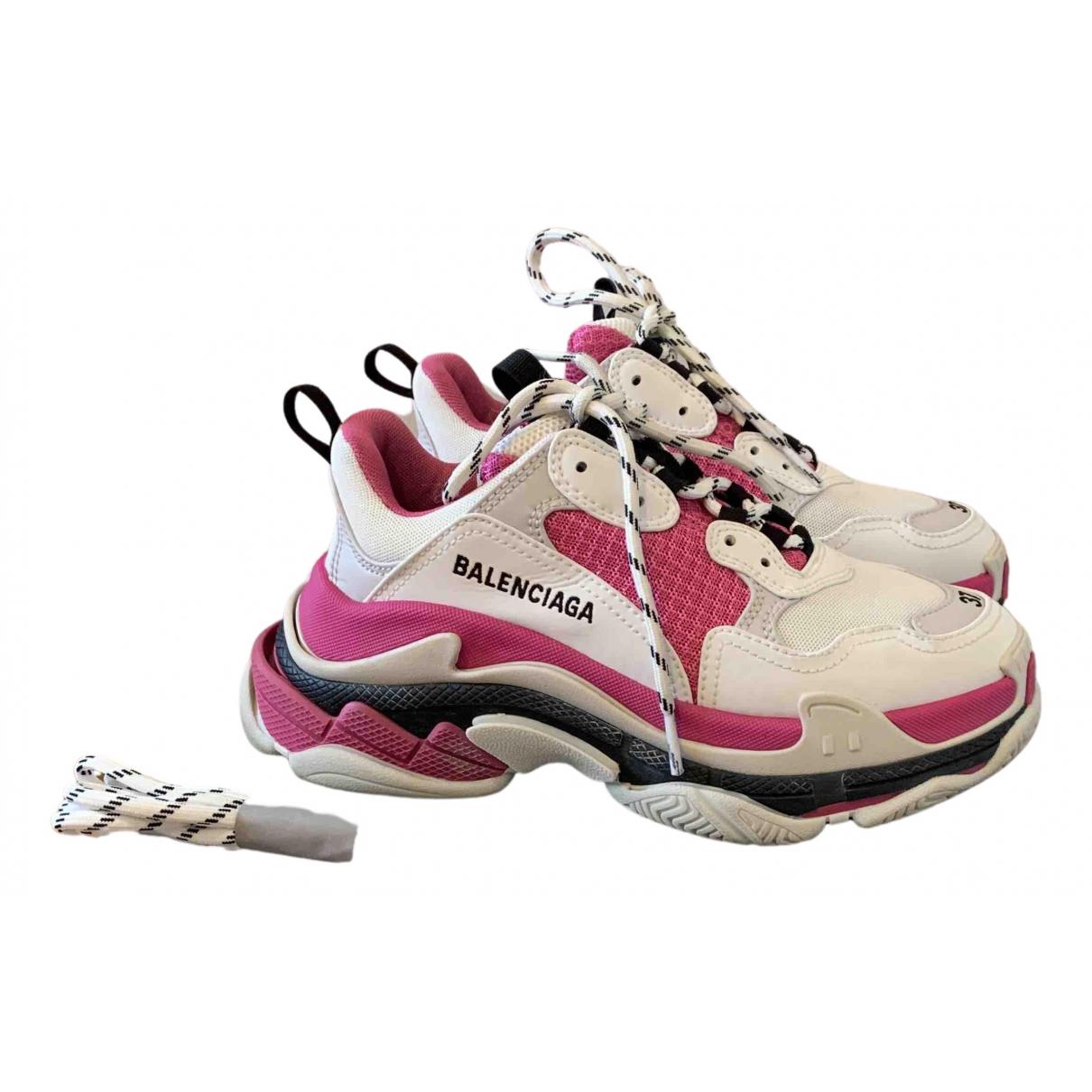 Balenciaga - Baskets Triple S pour femme en suede - rose