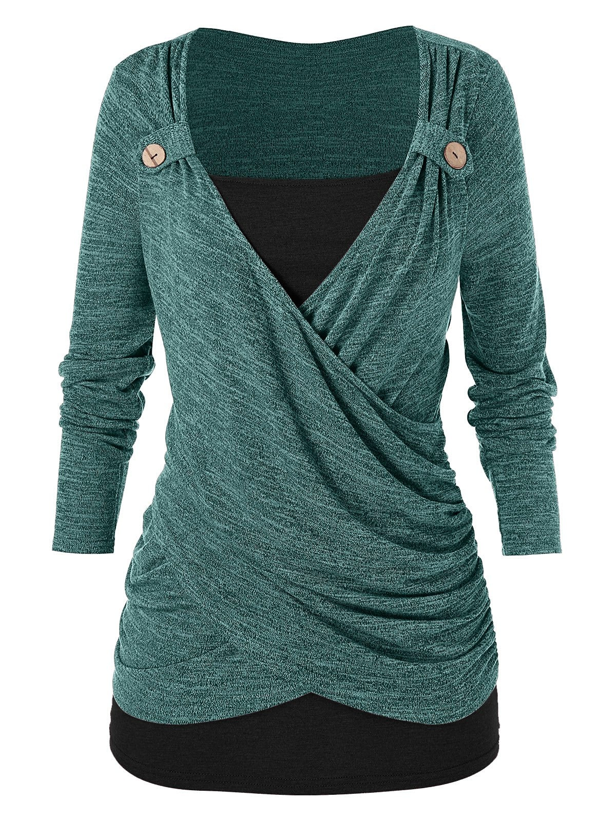 Plus Size Ruched Cross Front T Shirt