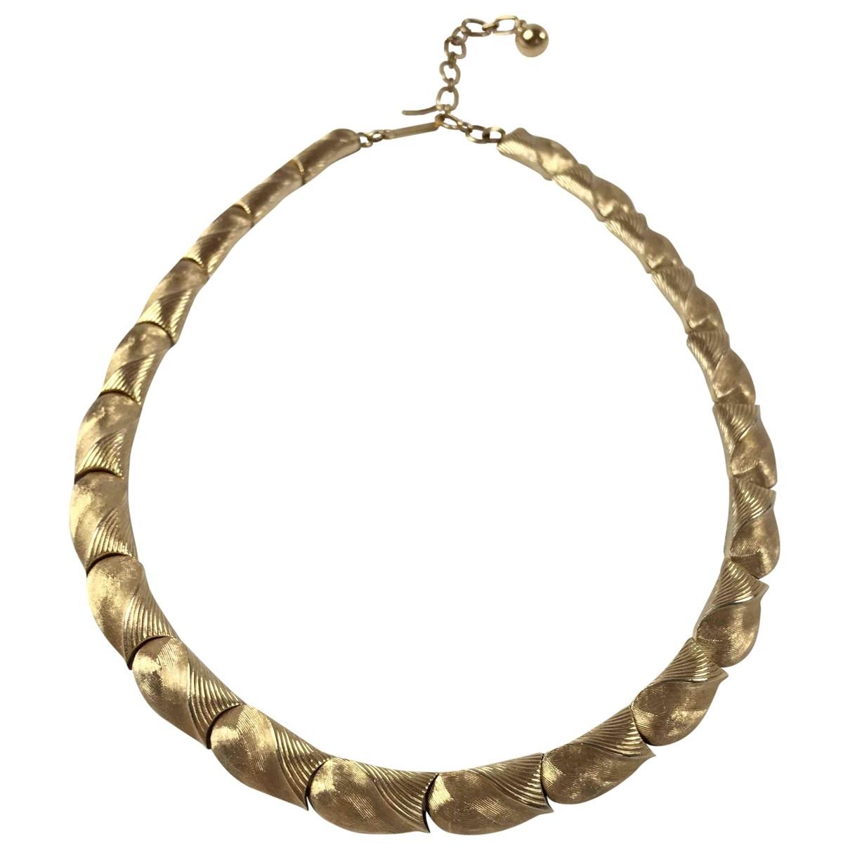 Trifari - Collier   pour femme en plaque or - dore