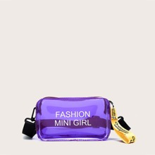 Girls Letter Graphic Clear Crossbody Bag