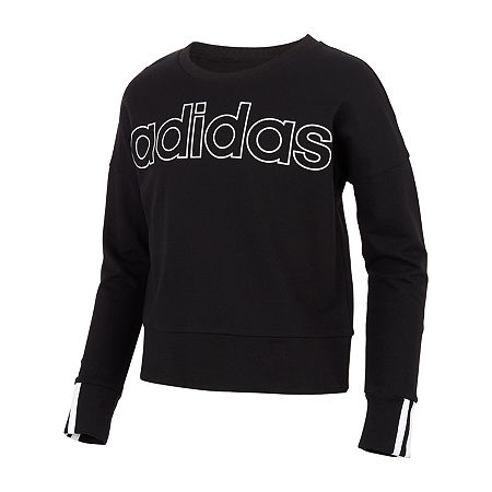adidas Big Girls Crew Neck Long Sleeve Sweatshirt, X-large (16) , Black