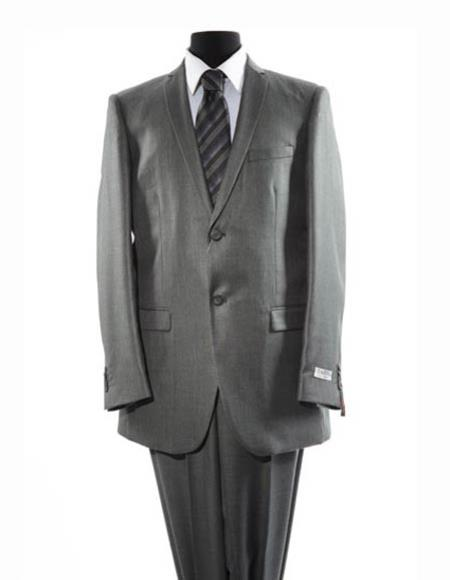 Men's Gray Single Breasted Two Button Suit