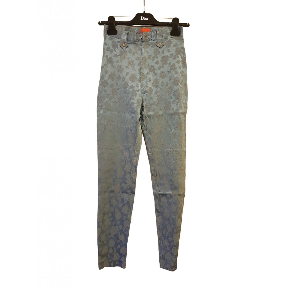 Christian Lacroix \N Blue Cotton Trousers for Women 38 FR