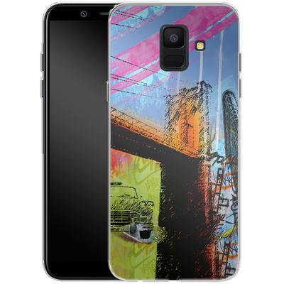Samsung Galaxy A6 Silikon Handyhuelle - Pop Brooklyn Bridge von Mark Ashkenazi