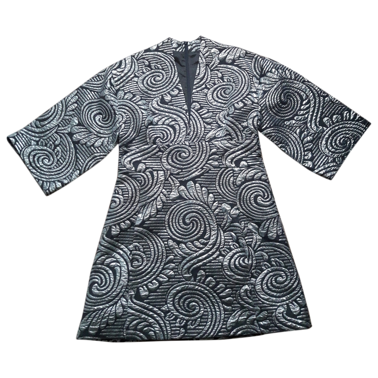 Non Signé / Unsigned Hippie Chic Silver Cotton dress for Women 40 FR