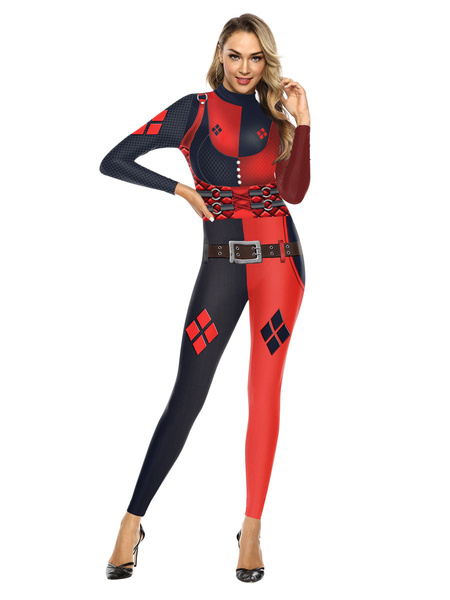 Milanoo Carnival Costumes Black Red Stretch Jumpsuit Polyester Leotard Holidays Costumes