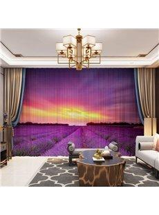 3D Provence Garden Violet Printed Decorative 2 Panels Custom Sheer