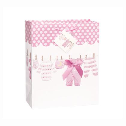Grand sac cadeau rose avec une corde à linge