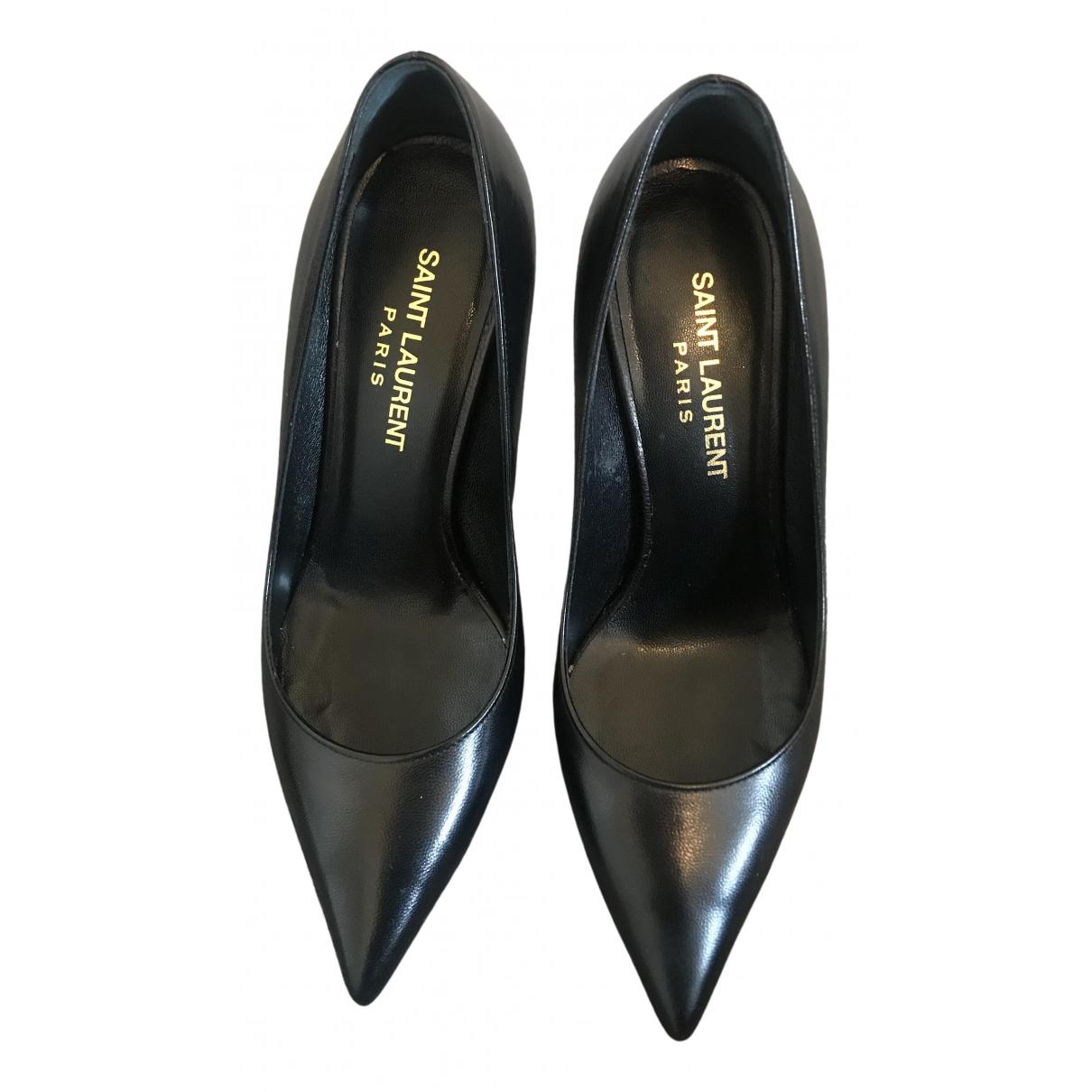 Saint Laurent \N Black Leather Heels for Women 34 EU