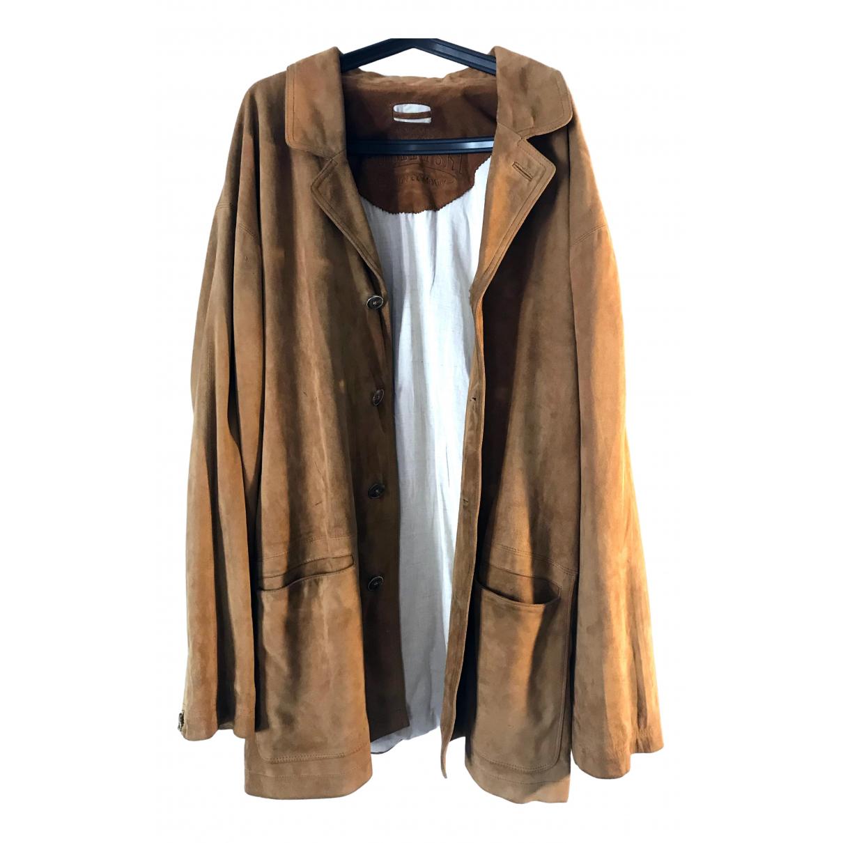 Non Signe / Unsigned Oversize Jacke in  Kamel Veloursleder