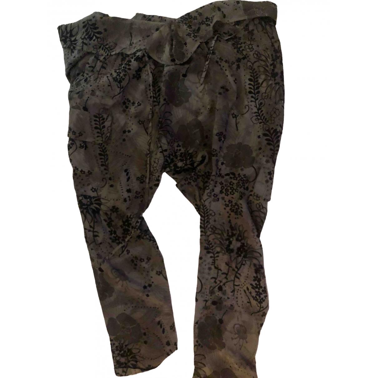 American Retro \N Grey Silk Trousers for Women 38 FR