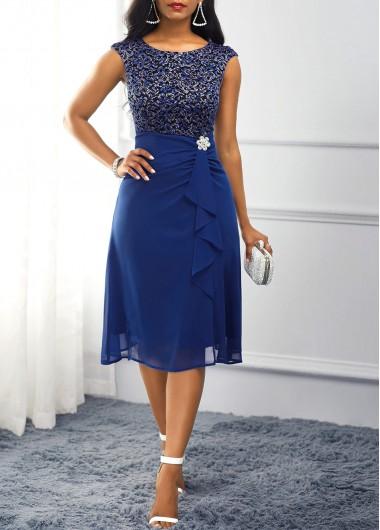 Women'S Royal Blue Chiffon Cocktail Party Dress High Waisted Sleeveless Lace Midi Tea Length Rhinestone Embellished Dress By Rosewe - M