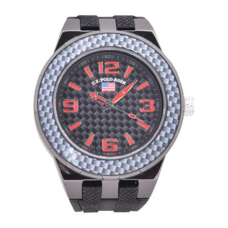 Us Polo Assn. Mens Black Strap Watch-Us9726jc, One Size , No Color Family