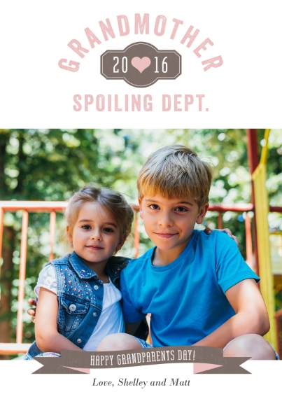 Grandparent's Day 5x7 Cards, Standard Cardstock 85lb, Card & Stationery -Spoiling Department