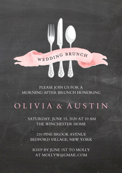 Wedding Shower Invitations 5x7 Cards, Premium Cardstock 120lb with Rounded Corners, Card & Stationery -Wedding Brunch Banner