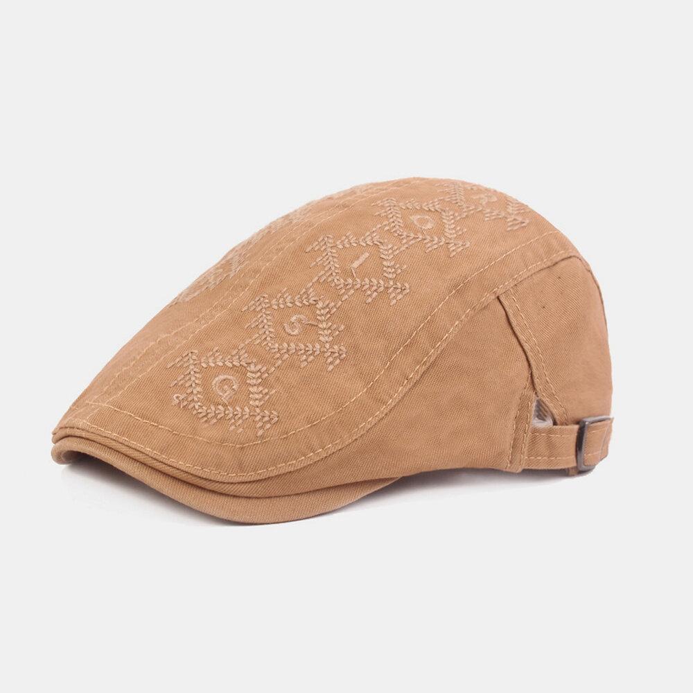 Men's Embroidery Retro Sun Hat Literary Beret Cotton Cap Forward Hat British